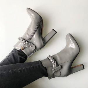 $1395 Valentino grey patent booties 36.5 / 6.5
